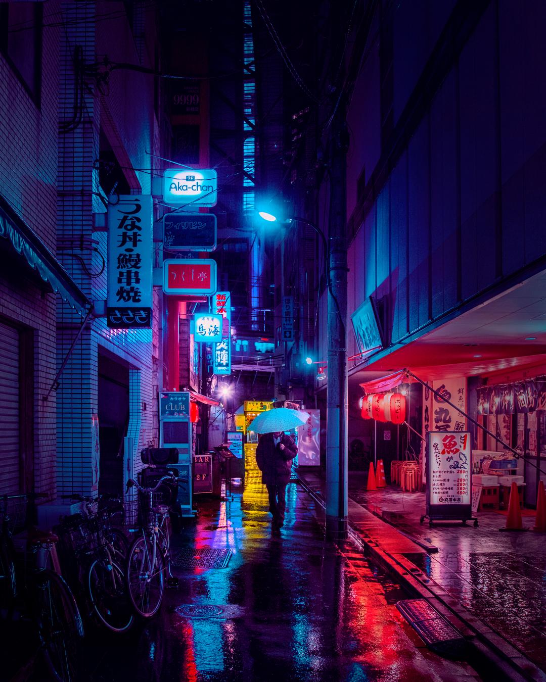 flashy neon lit night scene - HD1080×1350