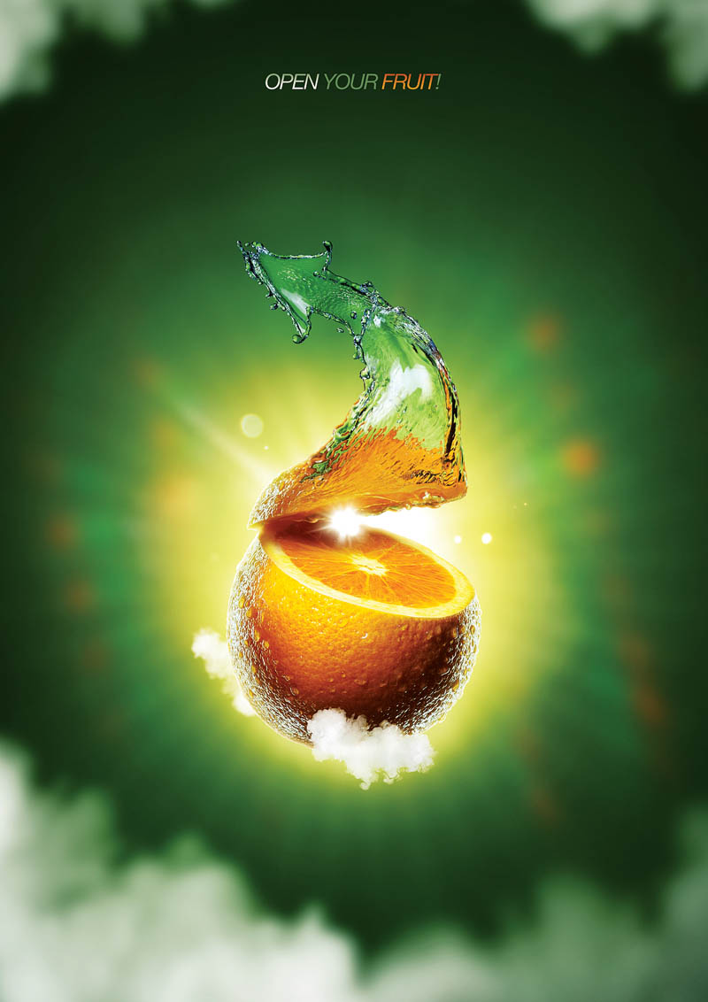 Концепт рекламного постера для компании, производящей соки