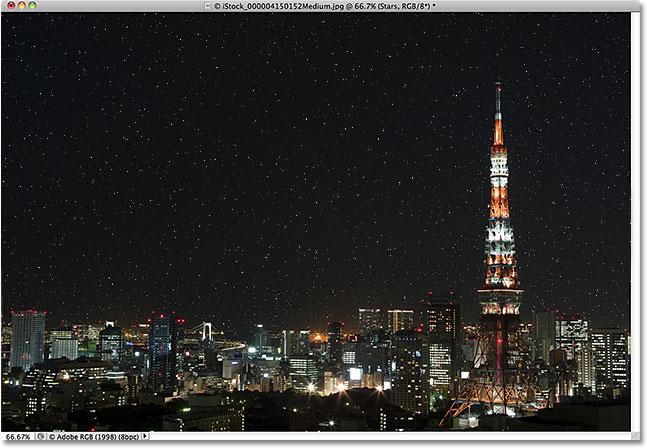 эффект звездного неба в Photoshop,  звездное небо в фотошоп